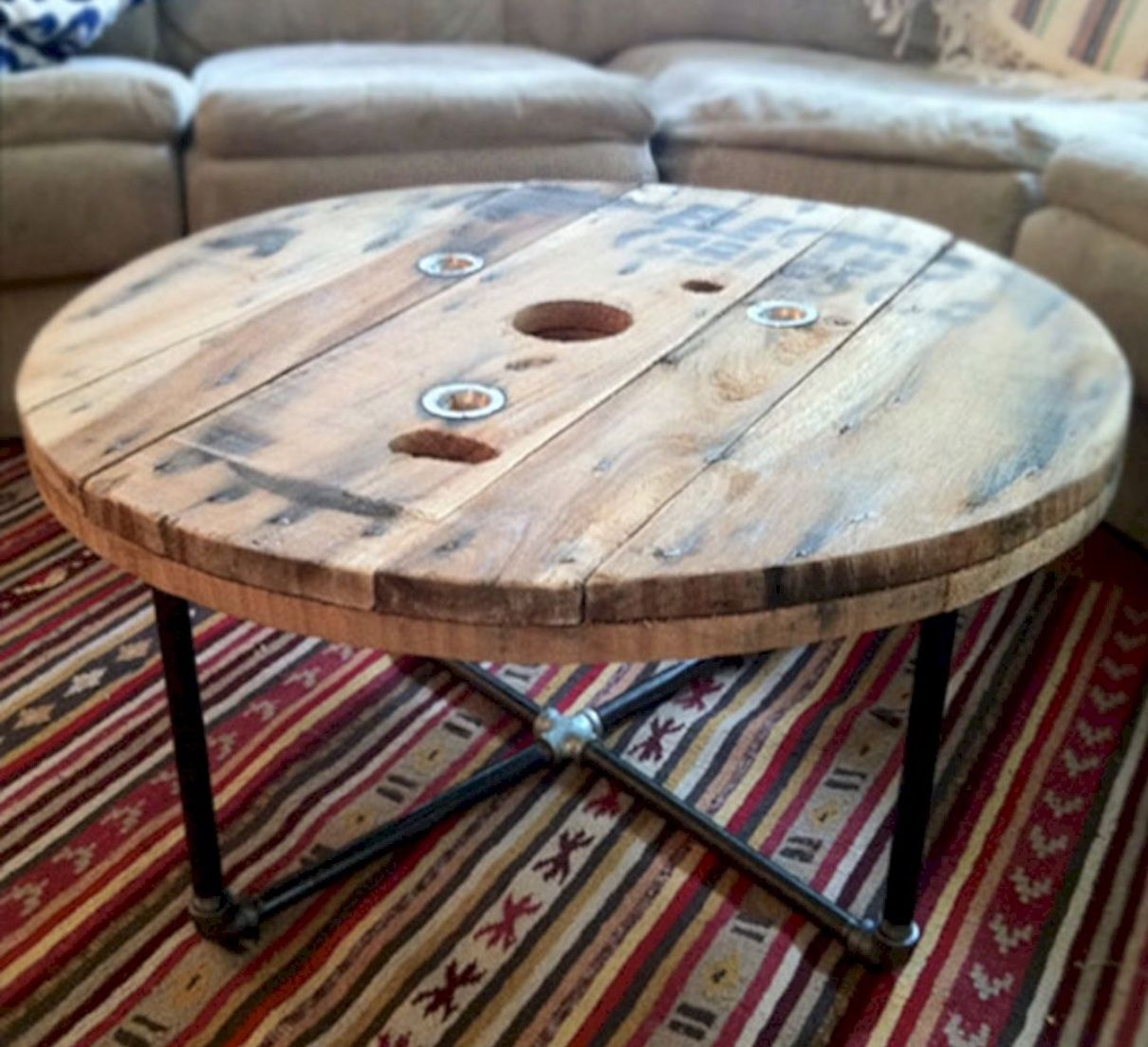 Round Wooden Table. Dining Room Photo   Black Windsor ...