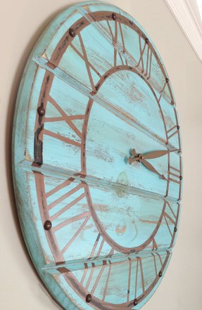 Shabby chic blue wooden wall clock with