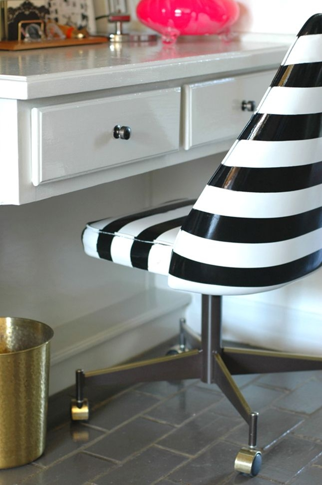 Sleek White Desk. White Swivel Chairs