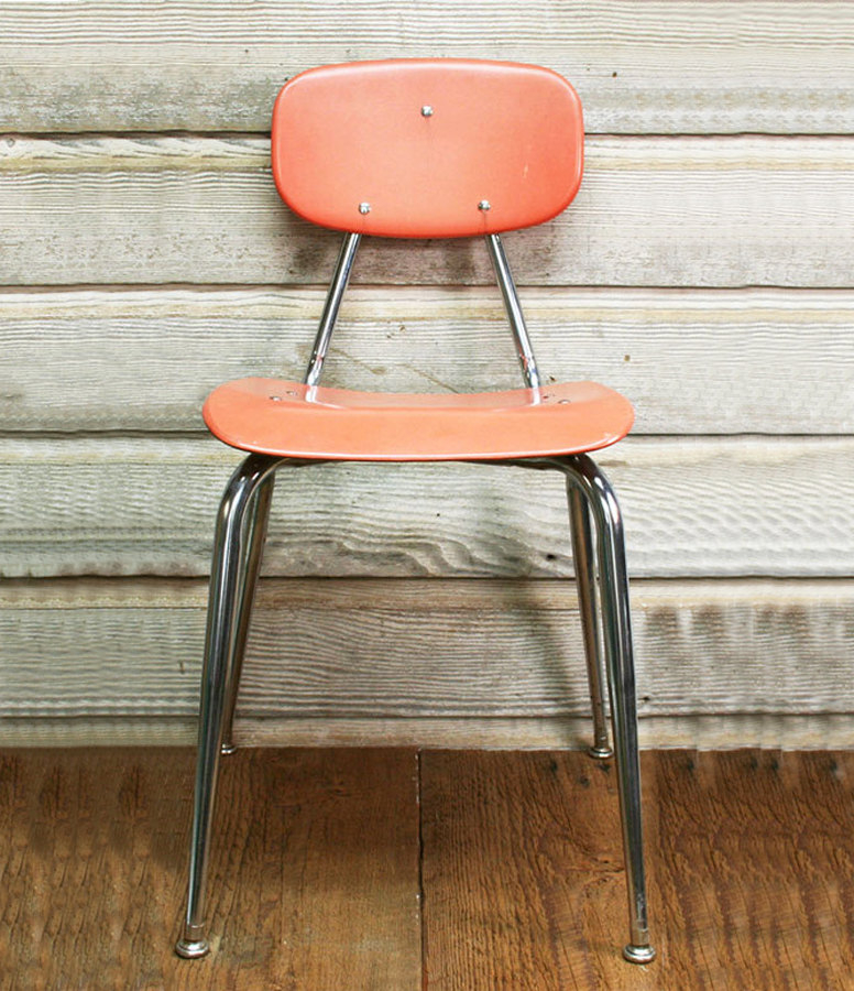 Vintage mid century school chair coral
