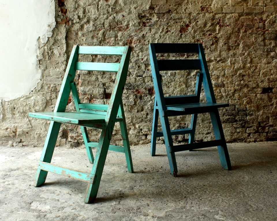 Vintage Wooden Folding Chairs 2