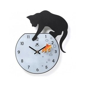 Wall clock clocks cat unique decorative novelty kitchen watchestime fisher