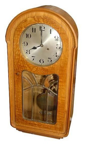 Walnut amp burl antique wall clock