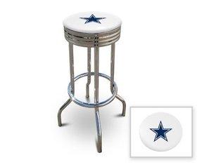 Custom logo bar stools foter 2 29 dallas cowboys logo themed custom specialty chrome bar stools swivel seat bar stools watchthetrailerfo