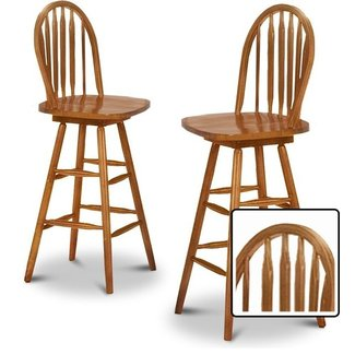 2 New Oak Finish Swivel Seat Arrow Back Bar Stools