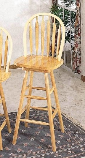 "29""H Arrow Back Windsor Bar Stool with Swivel Seat in All Natual Finish"