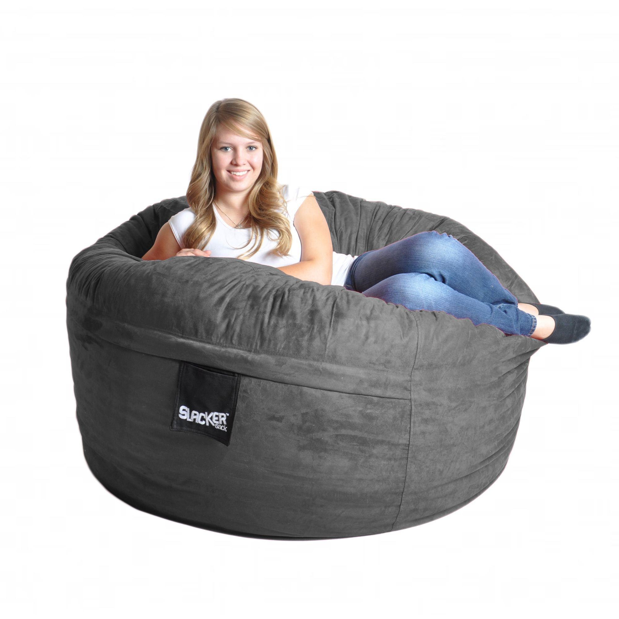 5u0027 Charcoal Grey Foam Bean Bag Chair Like LoveSac Gray Microsuede SLACKER  Sack Love Sack