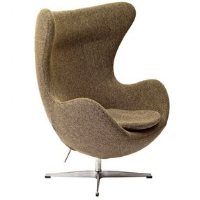 Arne Jacobsen Egg Accent Chair Sofa Couch w/ Premium Wool Hand Sewn/Stitched - High Quality Aluminum Base - In Oatmeal