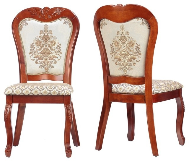 Delightful Cortesi Home Ella Queen Anne Dining Chair In White Gold Fabric (Set Of 2)