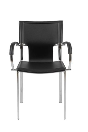 Euro Style 17211BLK Vinnie Arm Chair, Black Leather/Chrome, Set of 2