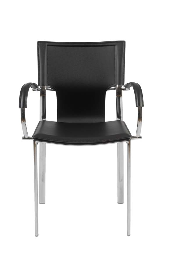 Beau Euro Style 17211BLK Vinnie Arm Chair, Black Leather/Chrome, Set Of 2