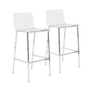 Euro Style Chloe-B Bar Stool, Clear Acrylic/Chrome, Set of 2
