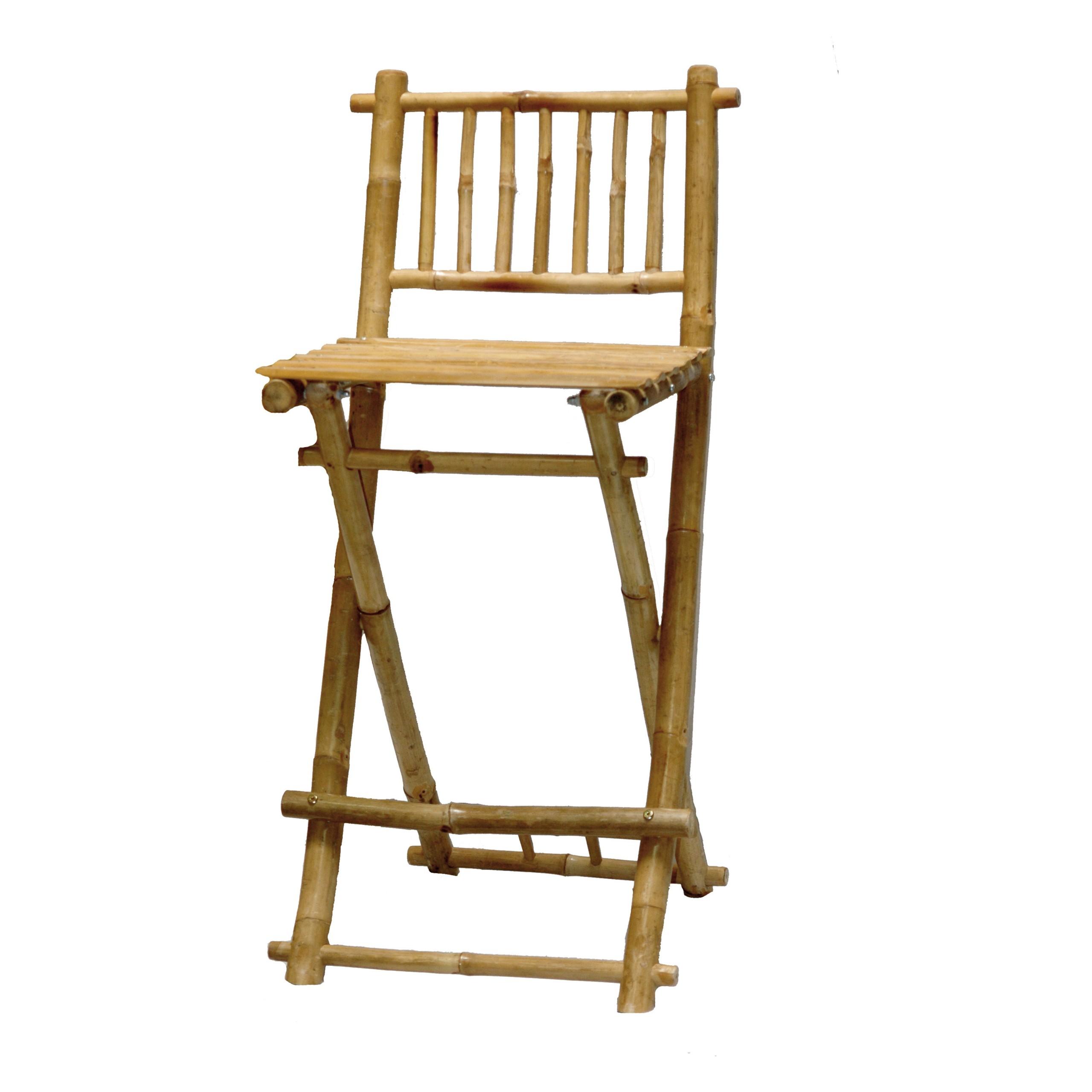 Exotic Bamboo Folding Bar Stool W Footrest   Set Of 2