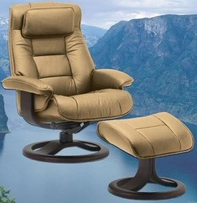 Fjords Mustang Leather Recliner and Ottoman - Norwegian Ergonomic Scandinavian Reclining Chair in Nordic Line Genuine Leather