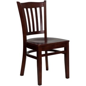 Flash Furniture XU-DGW0008VRT-CHY-BLKV-GG Hercules Series Cherry Finished Vertical Slat Back Wooden Restaurant Chair with Black Vinyl Seat