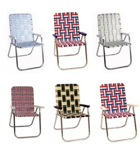 Folding lawn chairs with attached side table