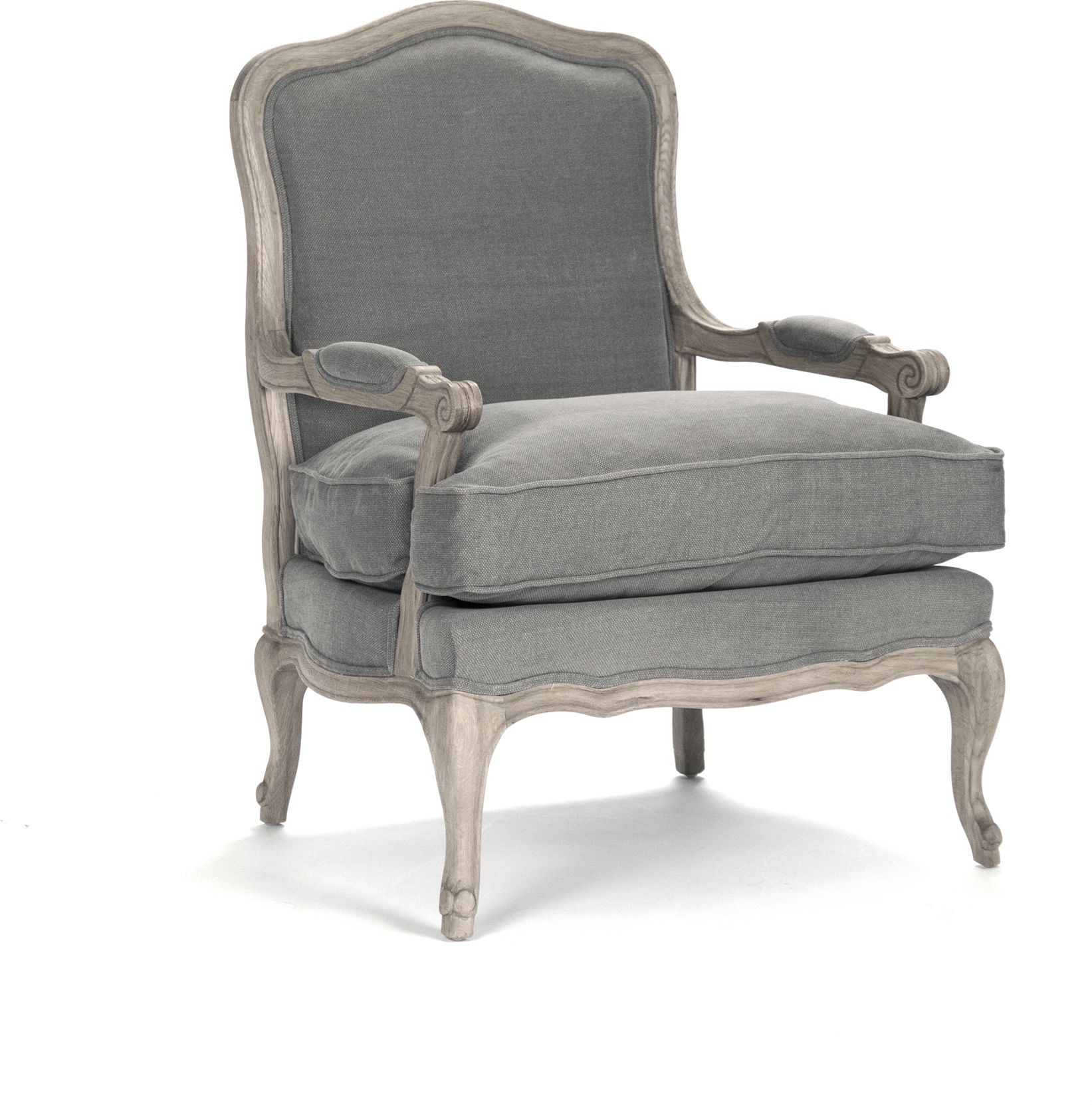 Delightful French Country Bastille Dark Gray Linen Salon Armchair