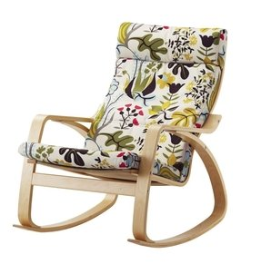 Ikea Poang Rocking Chair Birch Veneer with Blomstermala Floral Pattern Multicolor Cushion