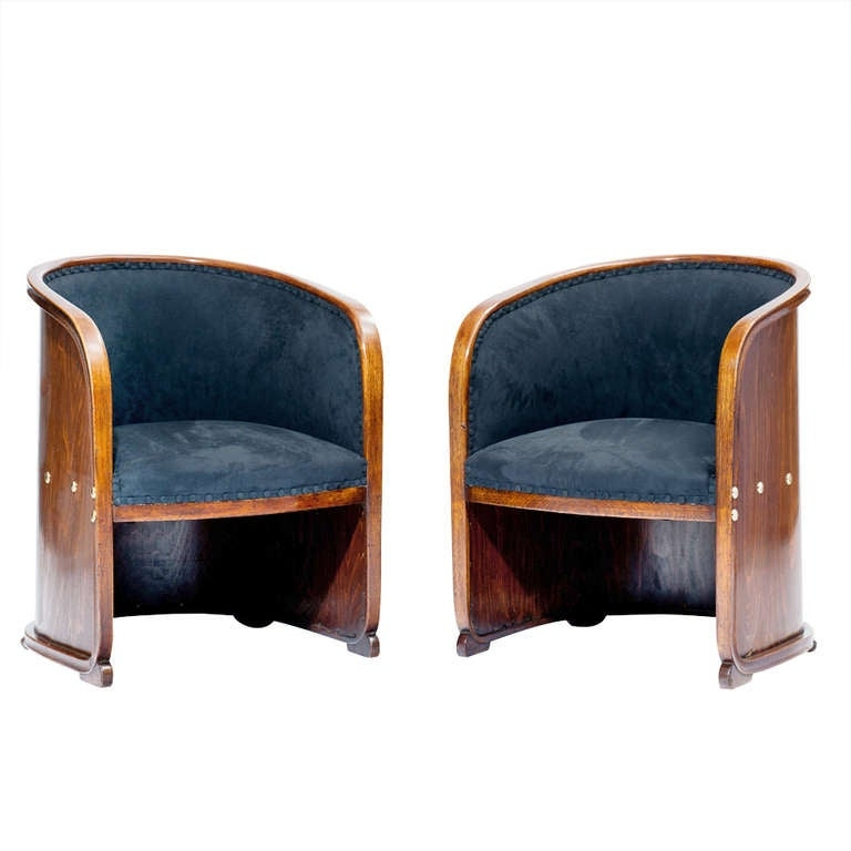 Bon Josef Hoffmann Two Armchairs So Called Barrel Chairs Vienna Secession