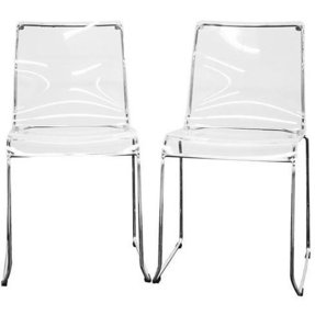 Lino transparent clear acrylic dining chairs set of 2 1