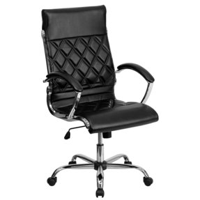 Mid-Back Designer Leather Executive Office Chair Black