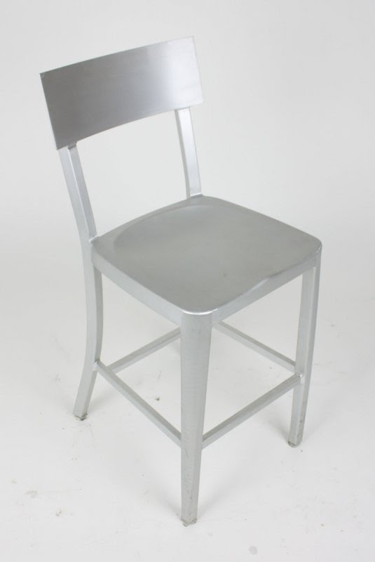 Modern Cafe Dining Chair In Brushed Aluminum   Counter Height