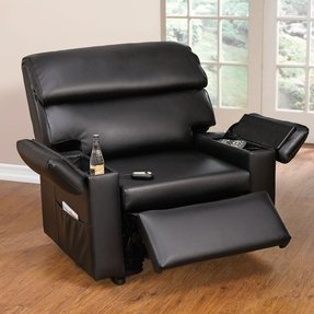 Plus+Size Living Brylanehome Extra Wide Leather-Look Power-Lift Chair With Storage Arms