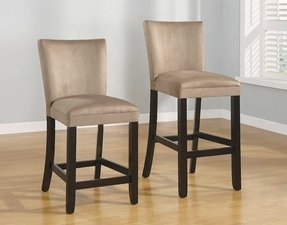 "Set of 2 24""H Counter Height Stools Taupe Microfiber"