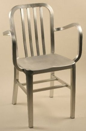 Stacking Brushed Aluminum Dining Chair w Arms & Rail Back