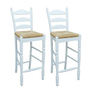 TMS 30-Inch Ladder Back Stool, White, Set of 2