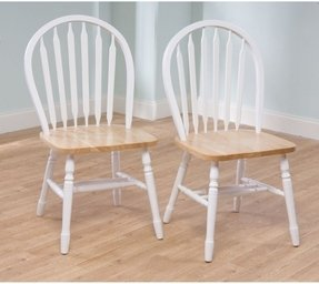 TMS Arrowback Chair (Set of 2), White/Natural