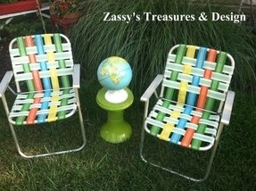 Vintage retro folding lawn chairs set of