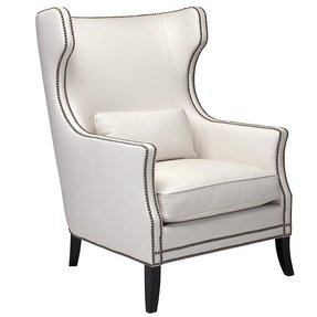 White leather chair with nailheads
