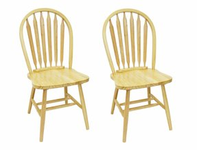 Windsor Chairs with Arrow Back in Natural, Set of 2