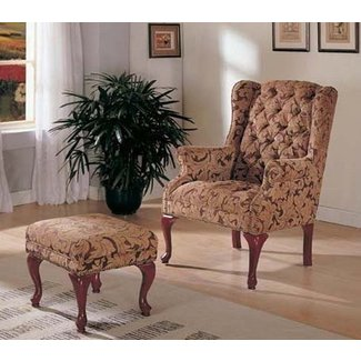 Wing Accent Chair with Ottoman Queen Anne Style Light Brown Fabric