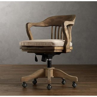 Wooden Swivel Office Chair