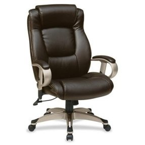 Work Smart ECH52661-EC1 Executive Eco Leather Chair with Padded Height Adjustable Arms and Coated Base