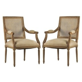 Zentique Louis Arm Chair with Cane Back, Limed Grey Oak Natural Linen
