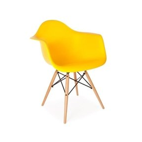 1 x High Quality Eames Style Classic DAW Dowel Dining Lounge Arm Chair - Yellow