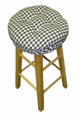 "13"" Round Barstool Cushion with Adjustable Drawstring Yoke - Checkers Black & White 1/4"" Check Plaid - Latex Foam Fill Bar Stool Pad"