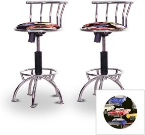 2 24'' to 29'' Adjustable Chrome Bar Stools (Chrome) (Red Glitter Vinyl)