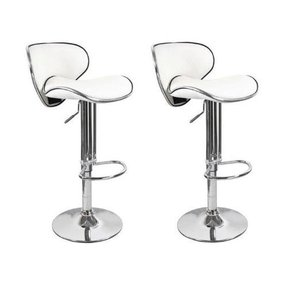 2 Swivel White Elegant PU Leather Modern Adjustable Hydraulic Bar Stool Barstool