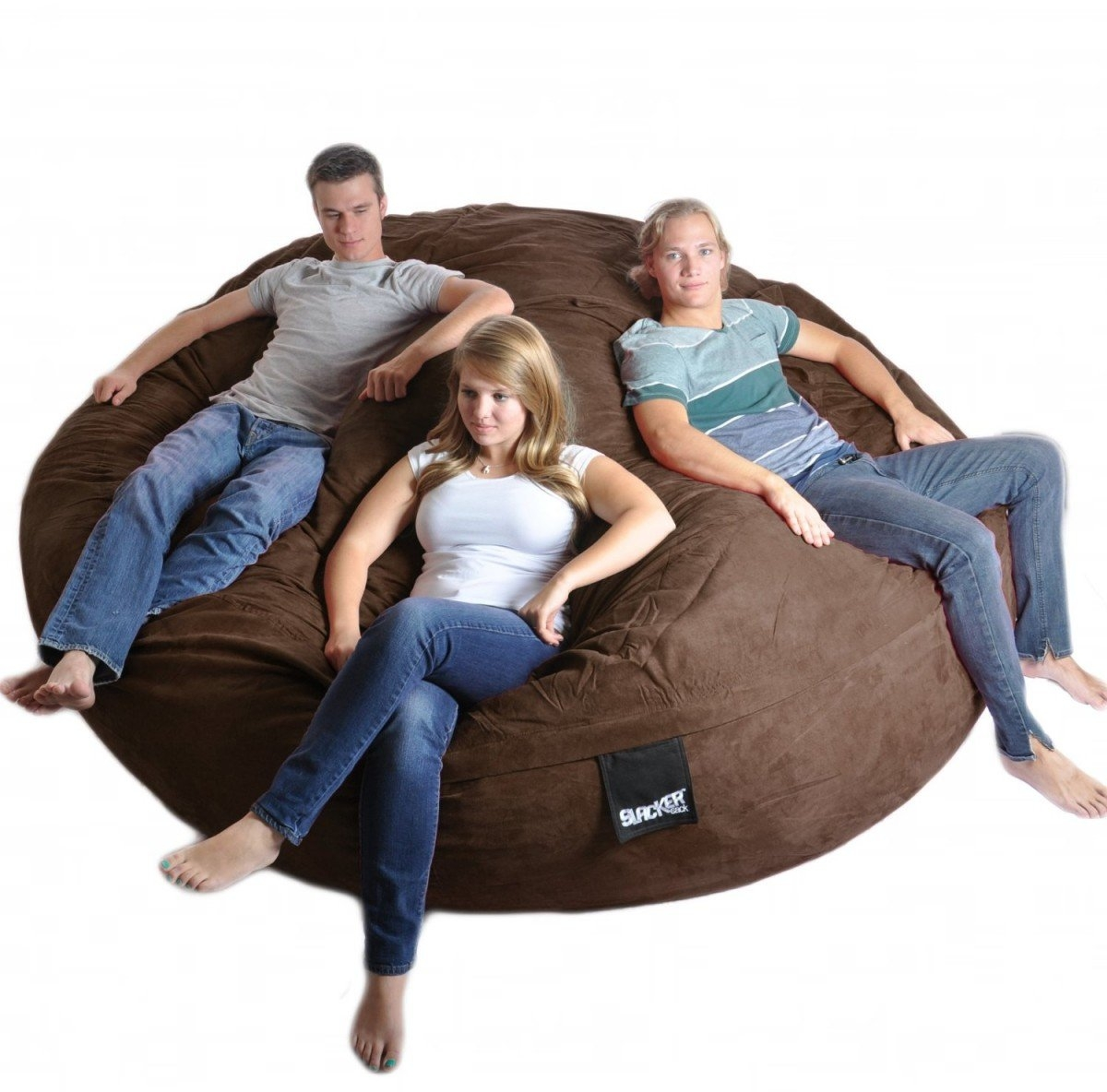 Ordinaire 8 Feet Round Navy Blue XXXL Foam Bean Bag Couch Microfiber Suede Giant  SLACKER Sack Like