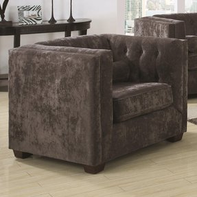 Alexis Transitional Chesterfield Chair in Charcoal By Coaster