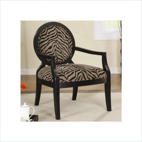 Animal Print Accent Chair with Exposed Wood Arms