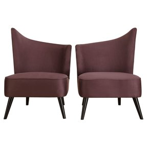 ARMEN LIVING Elegant Accent Chair with Flaired Back, Left Side, Purple Microfiber