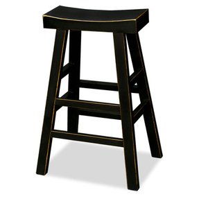 Asian Zen Elmwood Bar Stool - Black