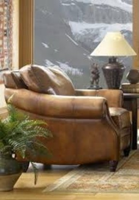 Aspen 100% Full Aniline Italian Leather Chair (Shown in Artisano Antique)