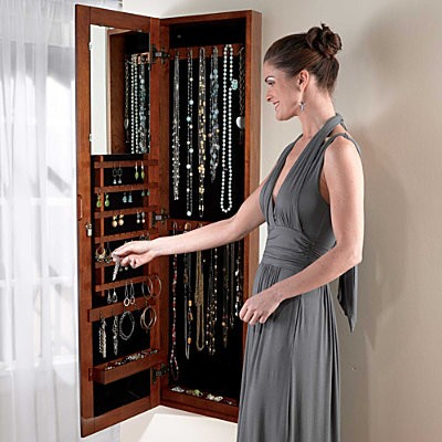 Black Wall Mount Jewelry Armoire