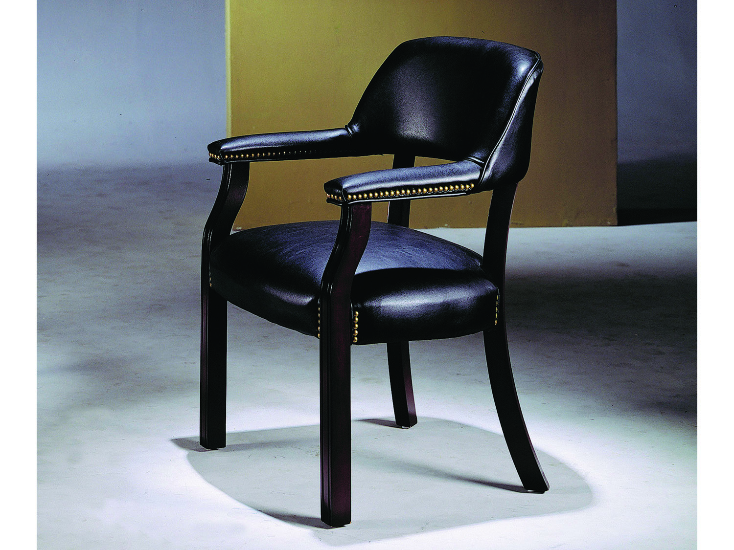 Captain Chair With Caster In Black And Cherry Wood ADS5083 Bk